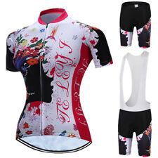 TELEY Women Cycling Jersey Set Bicycle Clothing Short Sleeve 3D Gel Pad Shorts