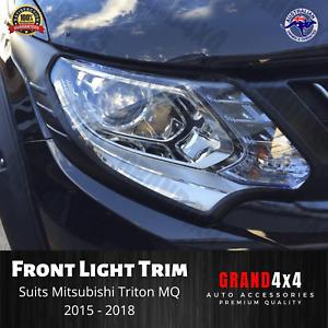 Matte Black Front Light Trim Cover Surrounds for Mitsubishi Triton MQ 2015-2018