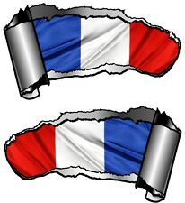 Small Pair Ripped Open Metal Rip GASH France French Flag Viny Car Sticker Decal