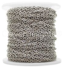 Cable Chain Spool - 100 Feet - Antique Silver (Platinum) - 2x3mm Link - Rolo
