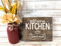 Self Serve Kitchen Open 24 Hours Wood Sign Handpainted Sign Rustic Kitchen Decor