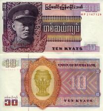 BURMA 10 Kyats Banknote World Money UNC Currency (MYANMAR) p58 Asia Note BILL