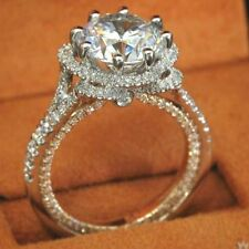 14K White Gold Over 2.Ct Round Cut Solitaire Diamond Engagement & Wedding Ring