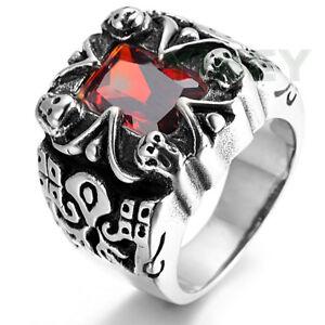 Jewelry Mens Casting Stainelss Steel Ring Skull Ruby Red Garnet CZ Stone Biker