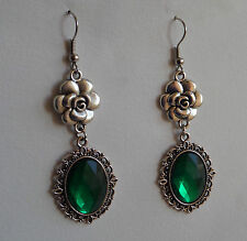 CAMELLIA FILIGREE VICTORIAN STYLE EMERALD GREEN SILVER PLATED EARRINGS CFE Hook