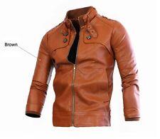 US Seller Mens Motorcycle Faux-Leather Buckle Collar Jacket Coat Slim Fit PK42