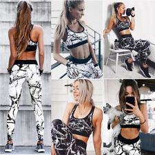 1Set Fashion Women Floral Sport Gym Yoga Vest Bra & Legging Pants Athletic Suit