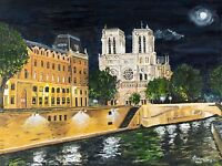 'Notre Dame at Night' Acrylic Painting on Canvas