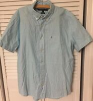 TOMMY HILFIGER Mens Short Sleeve Shirt Button Front Blue White Stripe Sz LARGE