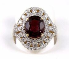 Natural Oval Red Tourmaline & Diamond Halo Solitaire Ring 14k Yellow Gold 5.35Ct