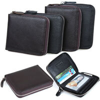 Mens Women Genuine Leather Clutch Zip Bag Clutch Wallet Purse Card Holder Pocket