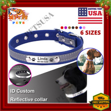 Personalized Reflective Dog Collar Leather Name ID Collar + Nameplate Engraved