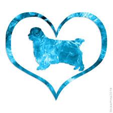 Love Clumber Spaniel Dog Heart Decal Sticker Choose Pattern + Size #1442