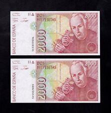 F.C. PAREJA CORRELATIVA 2000 PESETAS 1992 , SERIE 5C , S/C .