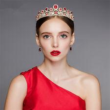 Wedding Bridal Red Crown Tiara Gold Pageant Rhinestone Hair Accessories Headband