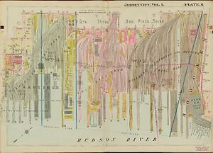 1908 JERSEY CITY HUDSON COUNTY NEW JERSEY ERIE RR STA. MORGAN-FERRY ST ATLAS MAP
