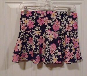 older Victoria Secret black pink floral bathing suit swim wear cover up skirt S