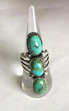 Crow Springs Turquoise three stone Ring Sterling  Sz 7.75 TByrd Navajo AJoe