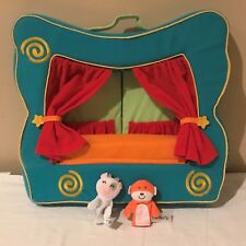 Finger Puppet Stage Kids Table Top Theater Show Plush Portable Toy, 2 Puppets