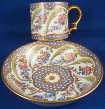 Antique 18thC Sevres Porcelain Floral Soft Paste Cup & Saucer Porzellan Tasse