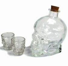 Demon Drink Set, Skull Decanter & Shot Glasses - Clear, Gothic Birthday Gift