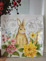 """MAXCERA Spring Collection Bunny & Flowers 11"""" Square Ceramic Plate Platter NWT"""