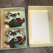 Vintage Holiday Memories Collector Ornament Rocking Horse Candle Holders Candles