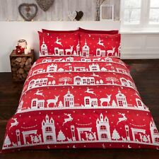 Renne Route coton brossé flannelle Set Housse de couette simple Noël rouge
