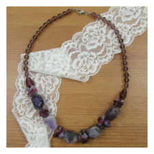 "18"" Amethyst Natural Stone Necklace Chunky Healing Gift Xmas Statement Yoga 150"