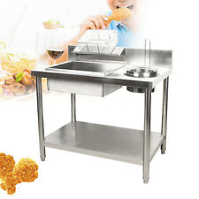 Commercial Breading Table Manual Station Fry Food Stainless Steel Work Table Us