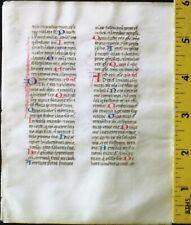Medieval manuscript Breviary leaf,vellum,many handpt.initials,ca.1460