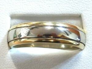 Heavy 18ct White & Yellow Gold Wedding Band 6mm - Size S -  Item:A7695