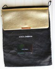 Dolce & Gabbana Leather Gold Metallic Clutch Handbag Purse Satin Interior NWOT