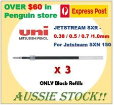 Uniball jetstream SXR refill x 3(only black) for SXN-150: 0.38/0.5/0.7/1.0mm