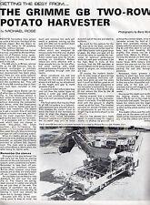 GRIMME GB Two Row POTATO HARVESTER Original 3 Page 1980 magazine ARTICLE