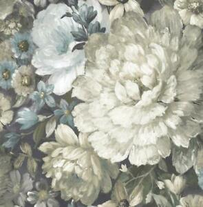 Wallpaper Designer Large Painterly Floral Green Taupe Gray Cream Blue on Black