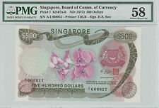Singapore Orchid $500 HSS with seal A/1 008817 AU PMG 58