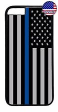Police Blue Line Flag Hard Rubber Case Cover For iPhone 7 6 6s Plus 5 5s 5c 4s