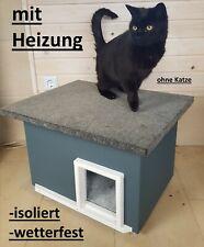 Katzenhaus mit Heizung anthrazit wetterfest isoliert Katzenhütte beheizt