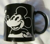 Disney Mickey Mouse Raised/Etched Ceramic Coffee Mug Black/White  EUC