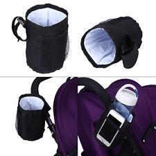 Kids Baby Stroller Safe Console Tray Pram Hanging Black Bottle Cup Holder Bag hg