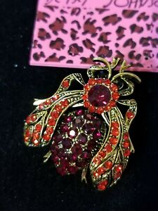 Rhinestone Crystal Gold Alloy Red Ladybug Animal Insect Pin and Brooch