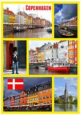 COPENHAGEN, DENMARK - SOUVENIR NOVELTY FRIDGE MAGNET - FLAGS / SIGHTS / GIFTS