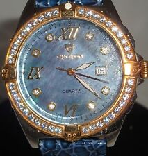 Men's Swiss Quartz Croton  Mother of Pearl BLUE MUST *SEE* CASE APROX. 40 M.M.W.