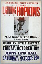 Blues CONCERT POSTER: LIGHTNING HOPKINS, Oct 18-19 1964, Berkeley, Calif.