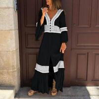 Women Baggy Long Sleeve Plain Party Vintage Dresses Front Slit Long Maxi Dress
