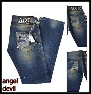 angel devil jeans pantaloni da donna vita bassa gamba dritta con strass 40 42 26