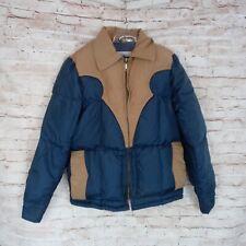 Vintage Schott Boys 12 Goose Down Puffer Jacket Navy Blue Tan