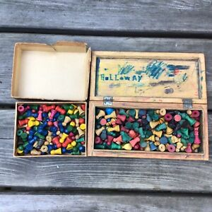 Job Lot 2 Boxes Old Vintage Wooden Coloured Toy Board Game Counter Pieces Ludo