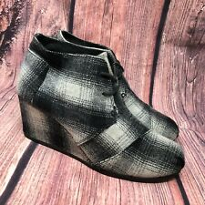 Toms Women's Desert Wedge Ankle Wool Boots Gray Black White Plaid Booties Sz 9